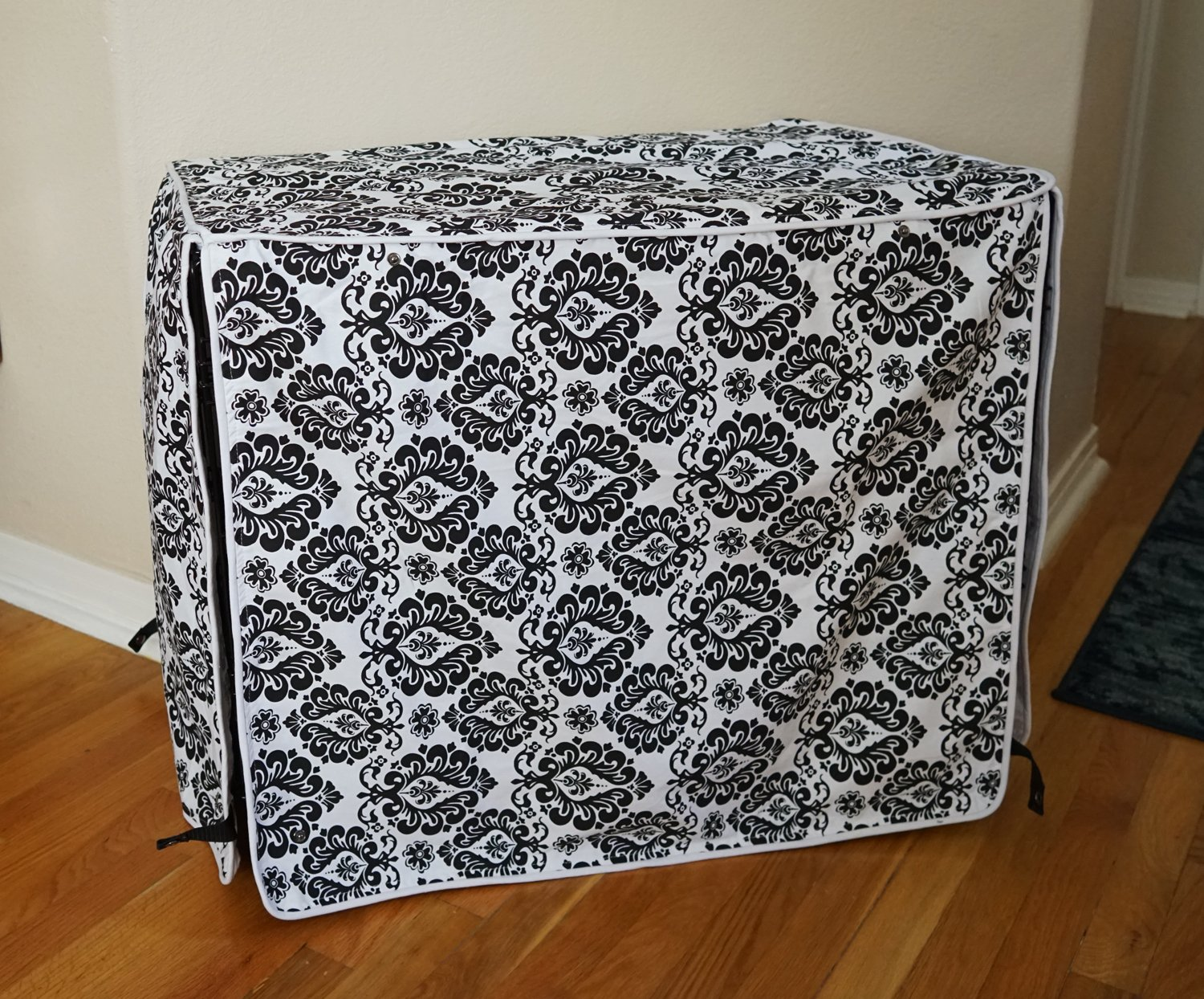 Black & White Damask Design Dog Pet Wire Kennel Crate Cage Cover (Small, Medium, Large, XL, XXL) (SMALL 24x18x21'')