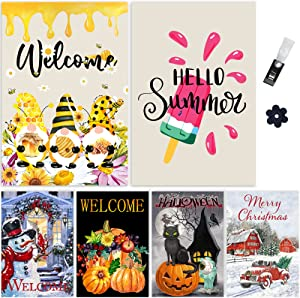 6 Pack Seasonal Garden Flags Set 12.5x18.5'' Double Sided Yard Flags with Anti-Wind Clip & Stopper Outside Banners Welcome Summer Fall Halloween Winter Xmas Flag Decor for Outside