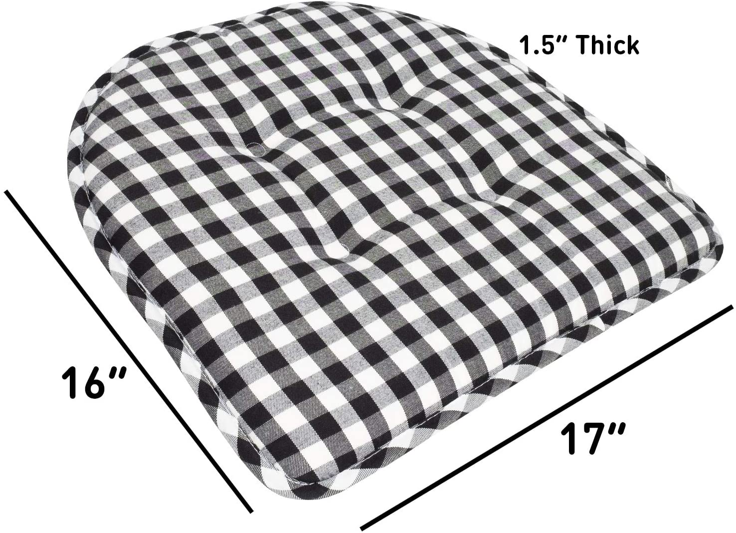 Checkered Black//White 4 Pack Sweet Home Collection Chair Cushion Memory Foam Pads Tufted Slip Non Skid Rubber Back U-Shaped 17 x 16 Seat Cover