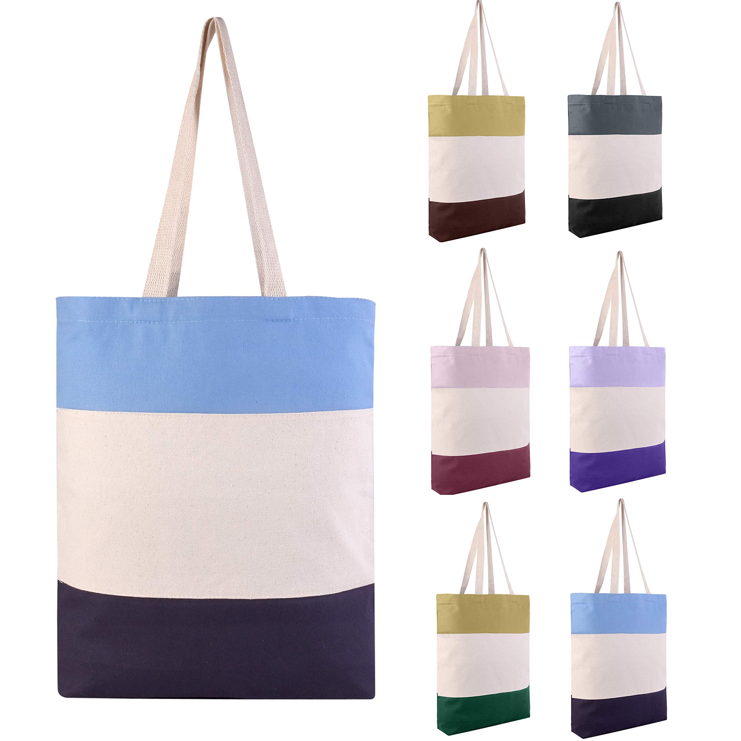 Pack of 6 - Reusable Fancy Durable Tri-Color Canvas Blank Shopping Tote Bags - 12oz. Fabric Sturdy Canvas Plain Tote Bags in Bulk - 15''W x 15''H x 3''D Bottom Gusset (Mix-Assorted) by BagzDepot