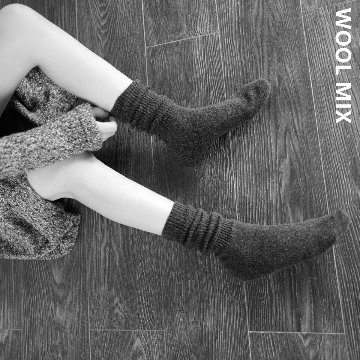 Las mujeres solteras originales calcetines_otoño e invierno de color sólido transpirable silvestres cálida lana borde doble storehouse de calcetines(2 pares) y el azul, UMCCY