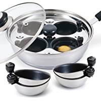 Eggssentials Poached Egg Maker - With 4 Extra Nonstick Egg Poaching Cups - Stainless Steel Egg Poacher Pan PFOA Free with Bonus Spatula Poacher Cup Nonstick Coating from USA