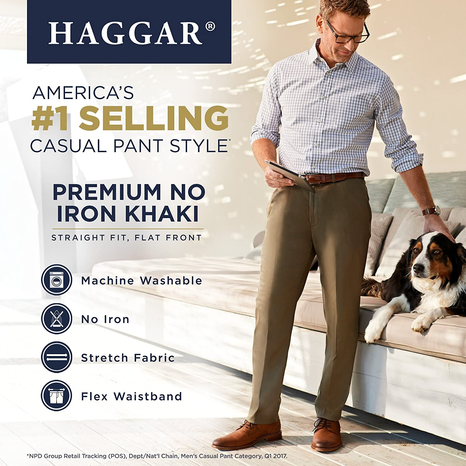 Haggar Men's Casual Pants Sand