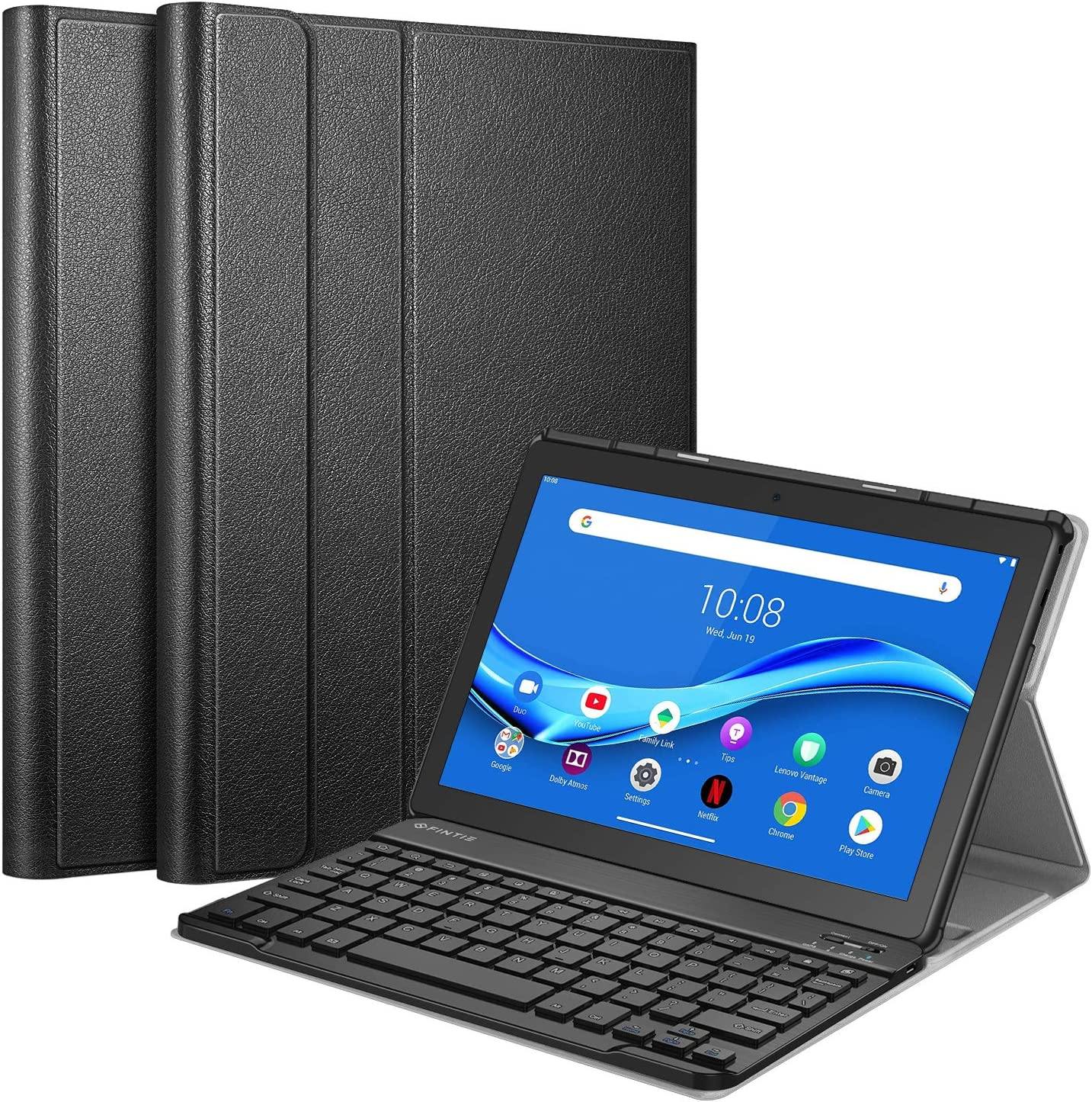 """CaseBot Keyboard Case for Lenovo Smart Tab M10 HD TB-X505F / M10 TB-X605F 10.1"""" Tablet, Slim Shell Lightweight Stand Cover with Detachable Wireless Bluetooth Keyboard, Black"""