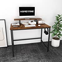 HOMEYFINE Computer Desk,Laptop Table with Storage for Controller,40 Inches,Wood and Metal,Study Table for Home Office…