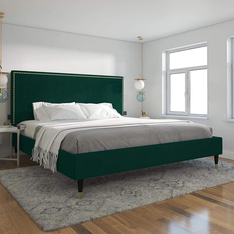 CosmoLiving by Cosmopolitan Audrey Upholstered, Emerald Green Velvet, King Size Frame Bed