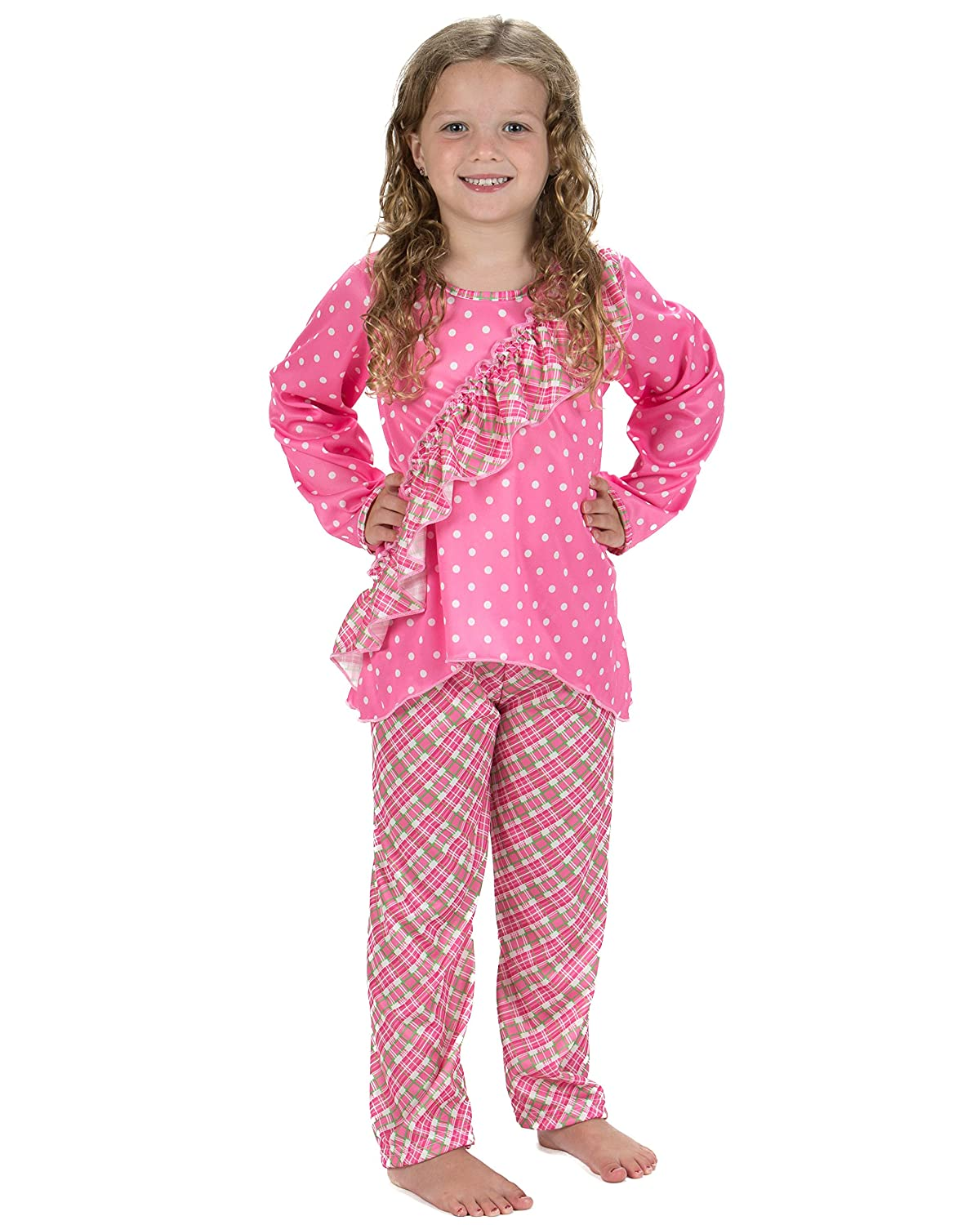 Laura Dare Youth Girls Pink Playful Plaid Vertical Ruffle Pajamas