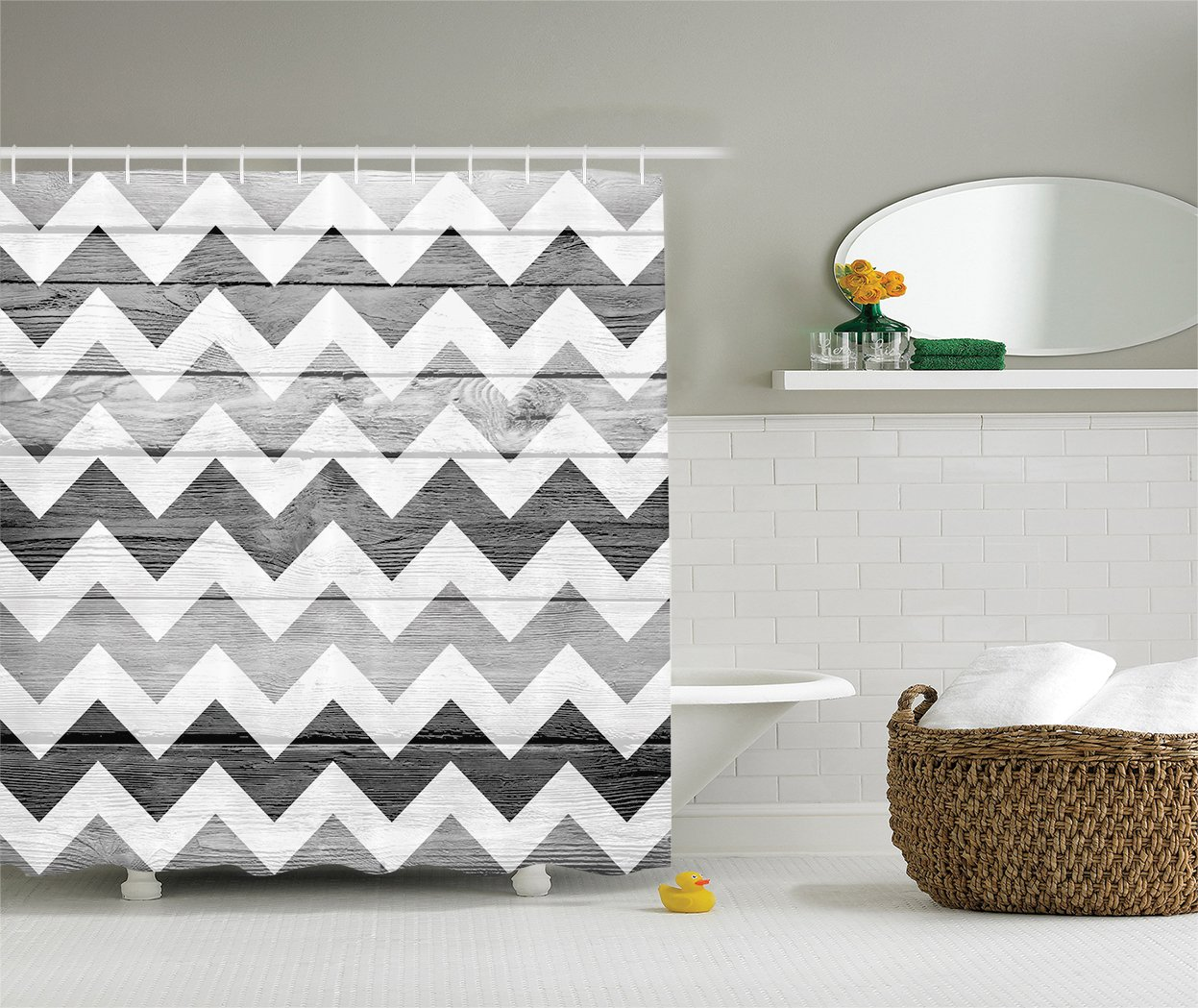 Ambesonne Grey Chevron Shower Curtain Geometric Illustration Decorations, Chevron Pattern on Wood Background Design, Polyester Fabric Bathroom Set with Hooks, Black Grey WhiteSmoke