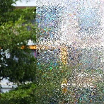 Zindoo 3D Hochwertige Premium No Kleber Fensterfolie Sichtschutzfolie  Statisch Folie Selbstklebend Privatleben Frost Glas
