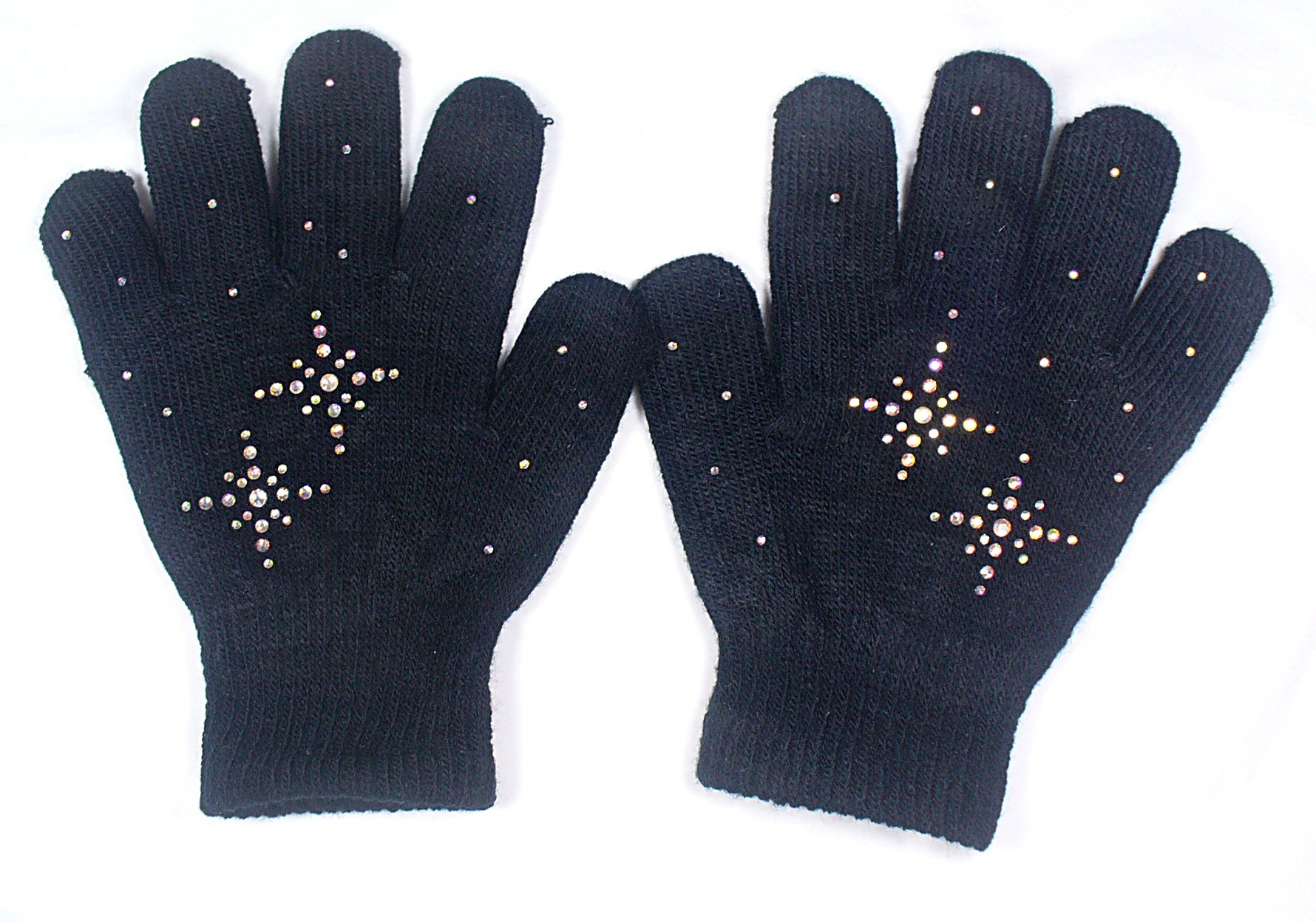 @Fedol Girls Ice Skating Gloves Magic Stretch with Rhinestones Snow Flakes (Black/AB Clear)