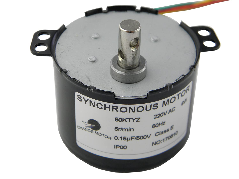 CHANCS Synchronous Gear Motor 50KTYZ AC 220V 5RPM 6W Torque 13Kgf.cm CE Passed