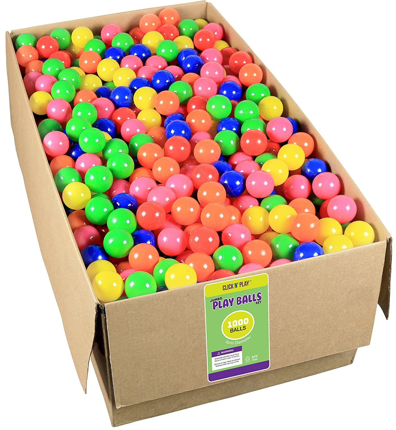 Click N' Play Value Pack 1000 Phthalate Free BPA Free Crush Proof Plastic Ball, Pit Balls 6 Bright Colors. Click N' Play CNP30213