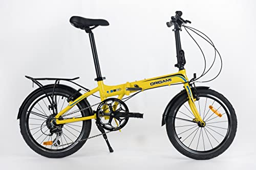 Origami Crane 8 Speed Bright Yellow Folding Bicycle
