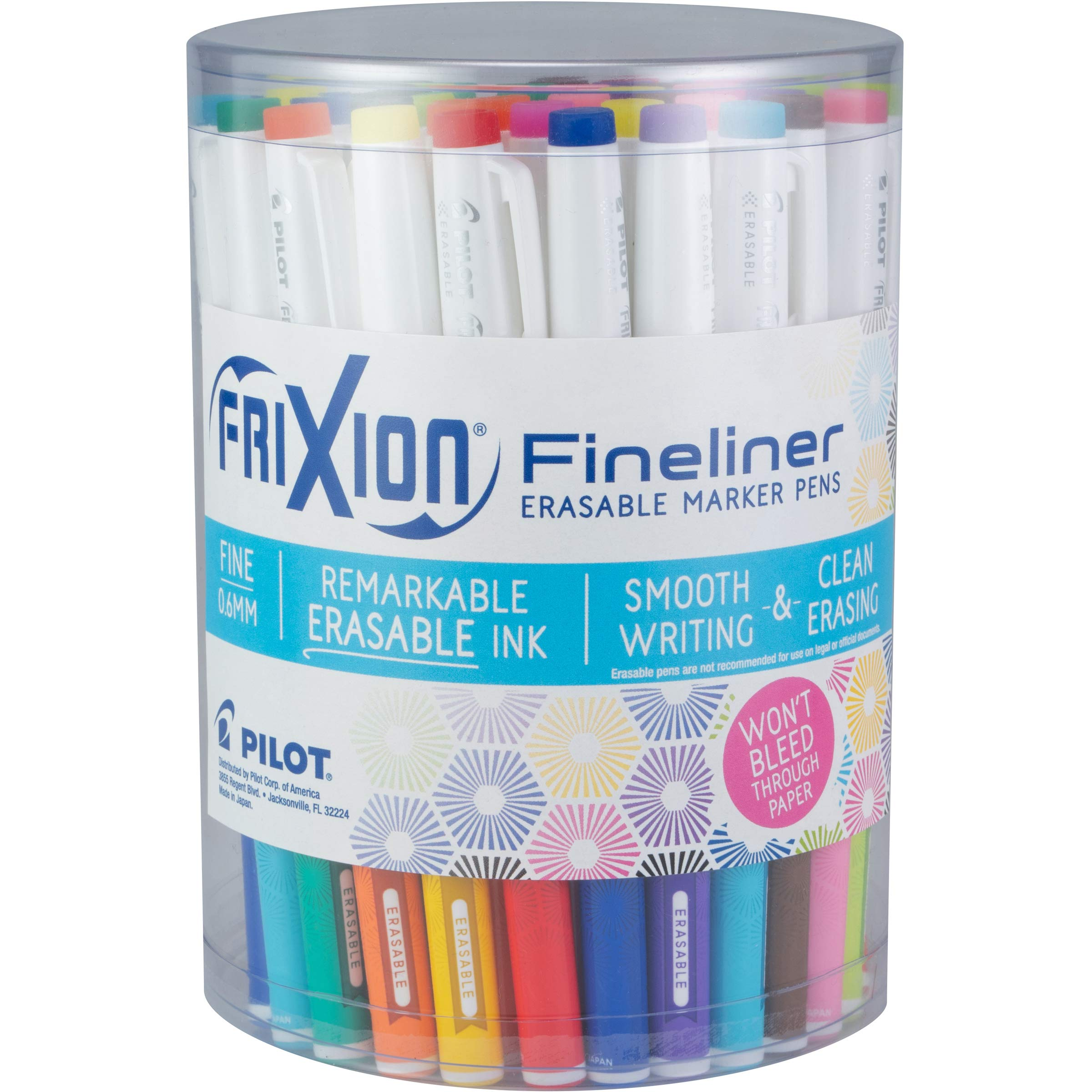 Pilot FriXion Fineliner Erasable Marker Pens, Fine Point, Assorted Colors, 36 Count