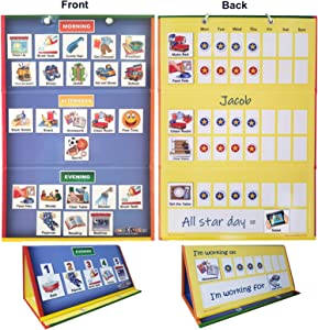 "SchKIDules 2-in-1 Home Bundle Visual Schedule: Daily Kids Calendar and Weekly Responsibility Chart All in One; 18"" Trifold Magnetic Board, 72 Activity Magnets and 57 Accessory Magnets"