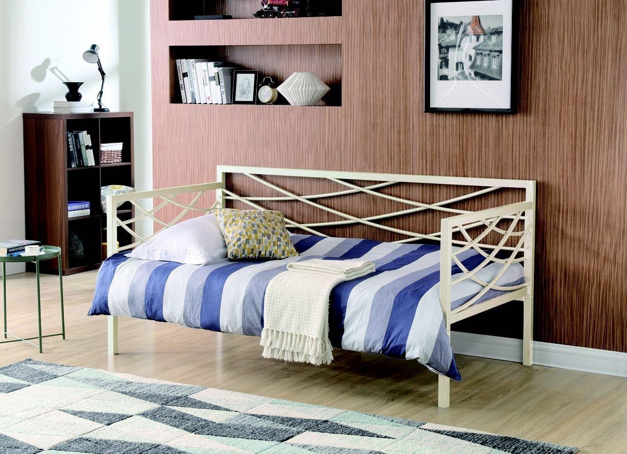 Hodedah HIDB909 Metal Bed, Ivory, 1''