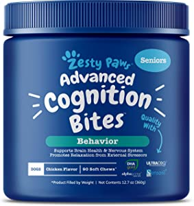 Zesty Paws Advanced Cognition Soft Chews for Dogs - with Omega 3 DHA, Ashwagandha & Alpha GPC - for Senior Dog Brain Health & Nervous System Support - Supplement for Calming & Relaxation - 90 Count