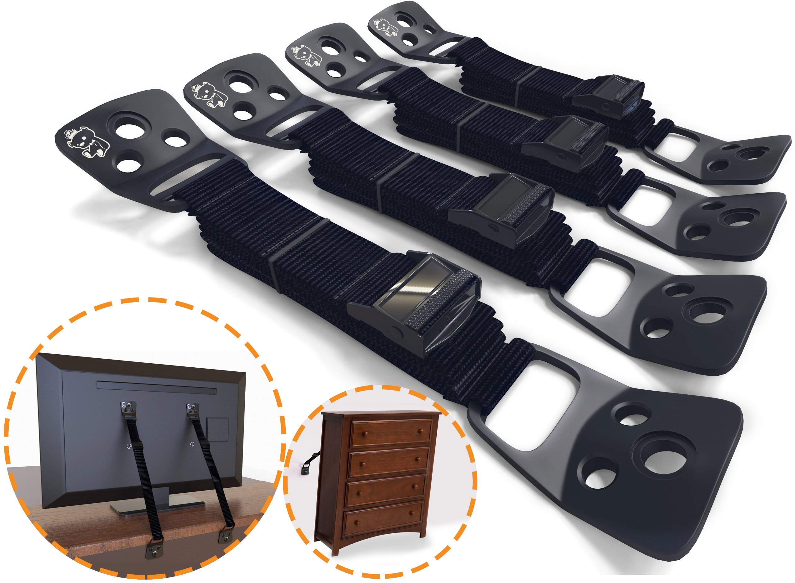 Anti-Tip TV Straps & Furniture Straps| PREMIUM TV Anchors & Furniture Anchors for Child Proofing Home from Tip-Over Incidents (4 Count)