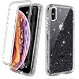 Lamcase Compatible iPhone Xs Max Case Crystal Clear Glitter Sparkly Bling Heavy Duty Shockproof Hybrid 3 in 1 Layer Protective Cover Case for Apple iPhone Xs Max 2018 6.5 Display, Clear/Silver Glitter