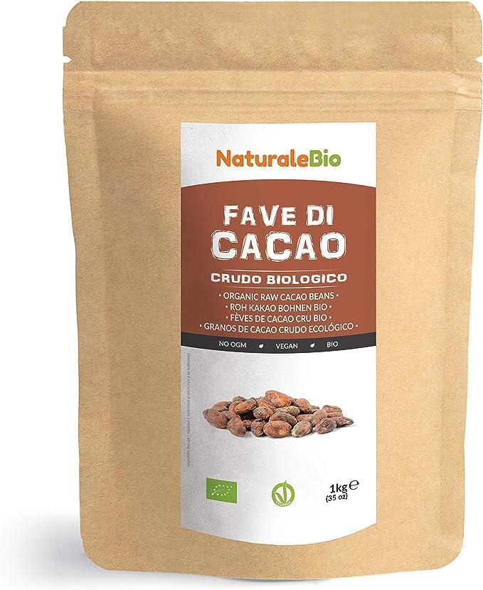 Granos de Cacao Crudo Ecológico 1Kg. 100% Bio, Natural y Puro. Cultivado en Perú a partir de la planta Theobroma cacao. NaturaleBio: Amazon.es: Alimentación y bebidas