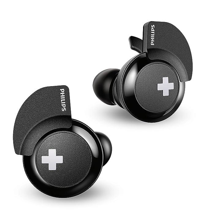 Philips Bass+ SHB4385BK - Auriculares Bluetooth (Manos Libres, sin Cable, Deportivo, con micrófono, Cargador, Ligeros, Graves potentes) Negro