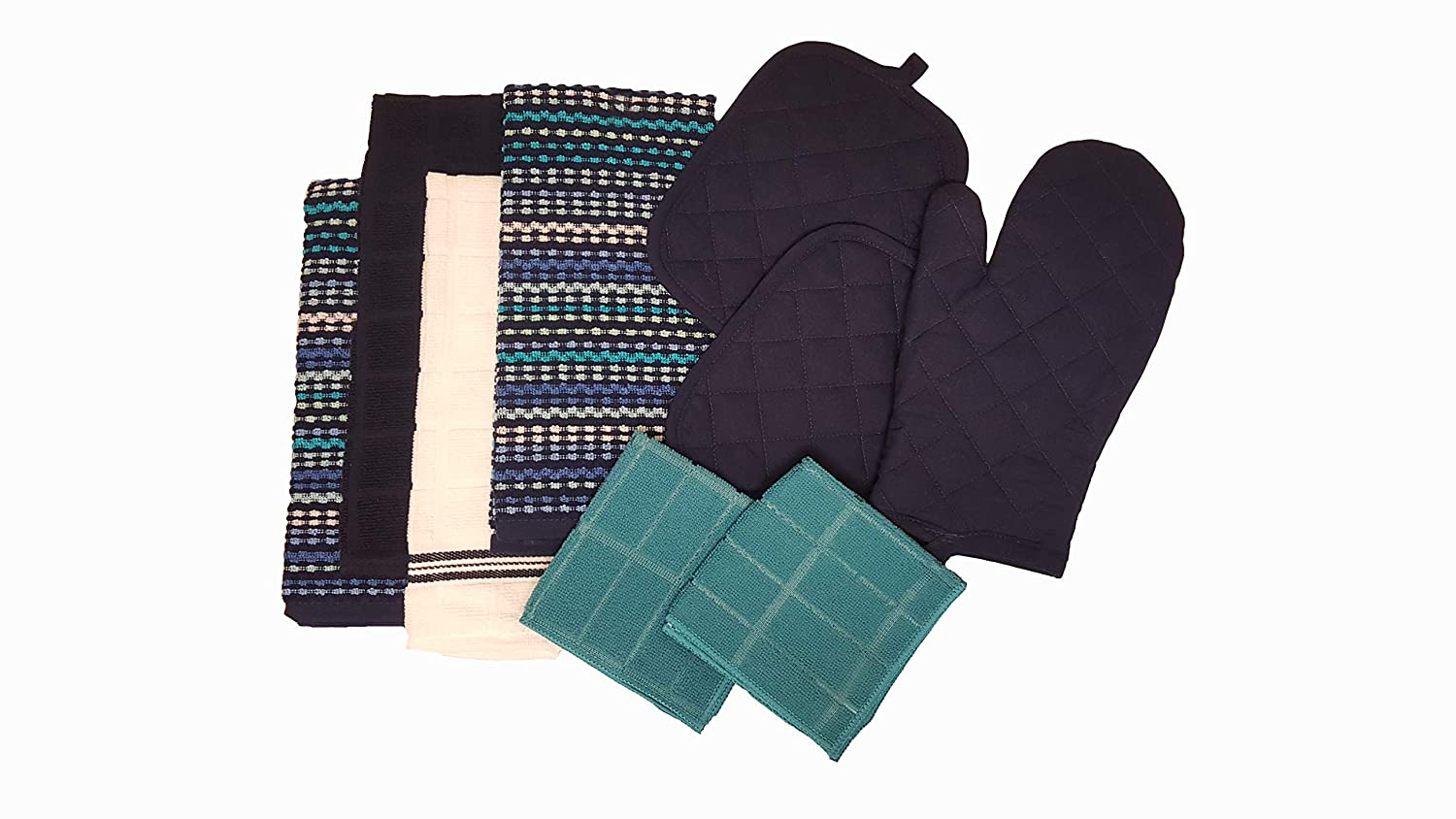 Lori T's Gifts and More Mainstays Kitchen 9 Piece Set 2 Pot Holders, 1 Oven Mitt, 1 White 1 Navy 2 Multi-Color Towels, 2 HC Dishcloths (Navy)