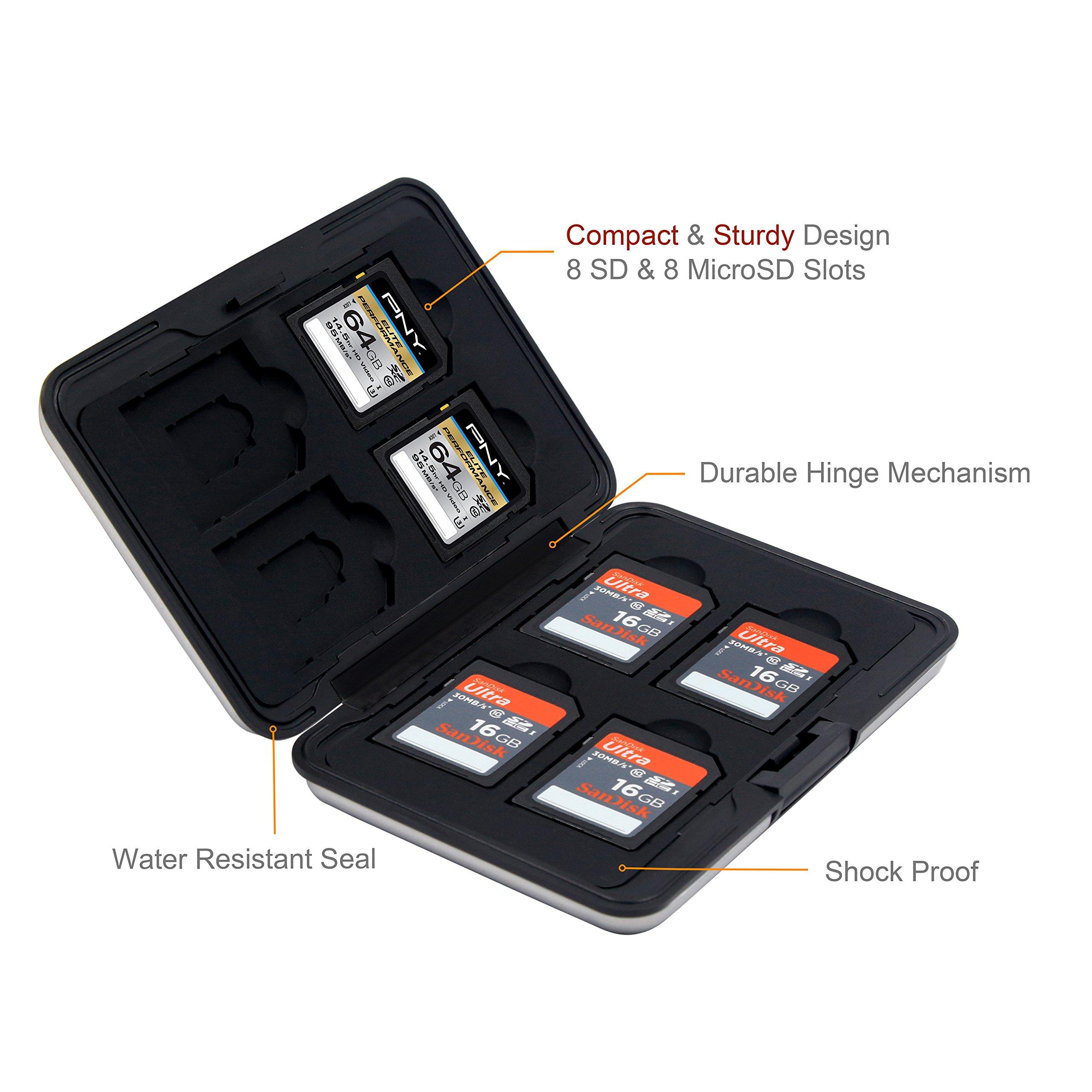 Honsky 2 Set Aluminum Water Resistant UHS-I SD Micro SD SDHC SDXC SecureDigital Memory Card Carrying Case Holder Organizer Box Keeper Computer Camera Media Storage Organization, Silver by Honsky (Image #2)
