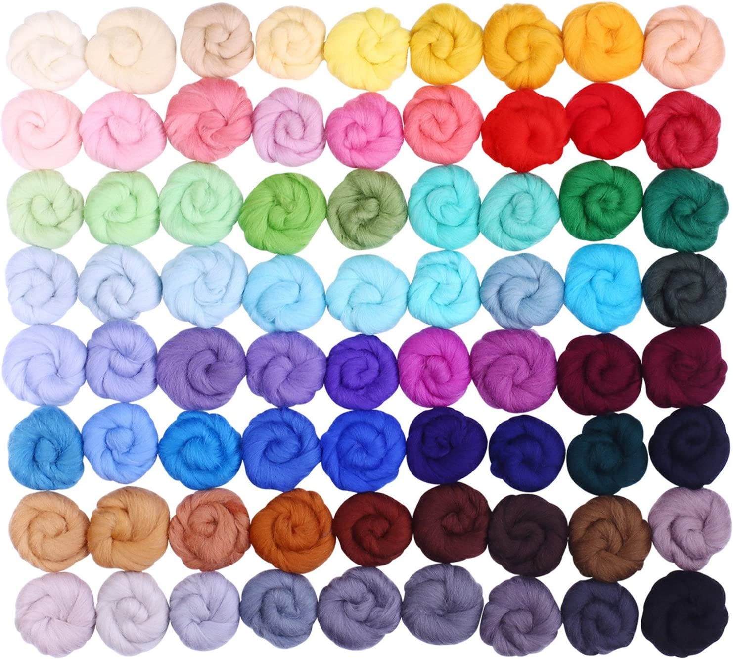 Fuyit Wool Roving 36 Colors 180g Needle Felting Wool Fibre Hand Spinning DIY Craft Materials 36 Color 5g//Color