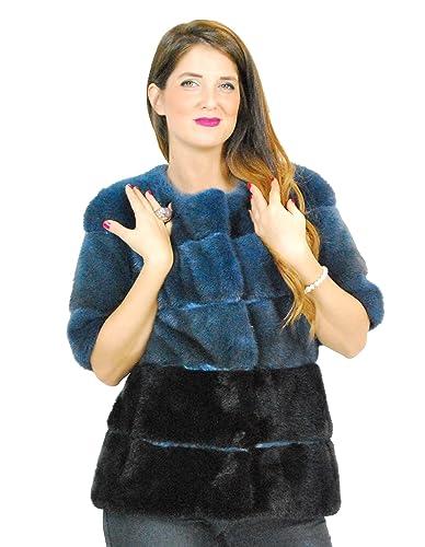 42 Blue Jacket mink coat double color short sleeve fourrure vison 水貂皮草 pelliccia visone Pelz Nerz mex hopka