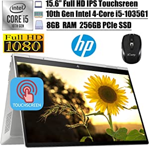 """2020 Newest HP Envy x360 2 in 1 Business Laptop, 15.6""""FHD IPS Touchscreen, Intel Quad-Core i5-1035G1(>i7-8550U), 8GB DDR4 256GB PCIe SSD, FP Backlit Thunderbolt Alexa Win 10 + iCarp Wireless Mouse"""