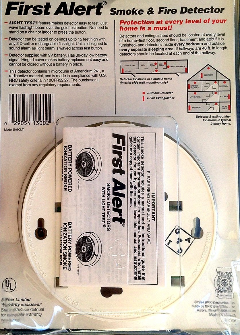 First Alert Sa90lt Smoke Fire Detector Kitchen Dining Ionization Ic