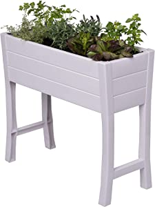 "Nuvue Products 26020, 36"" L x 15"" W x 32"" H, Polymer with Woodgrain Texture, White Elevated Garden Box"