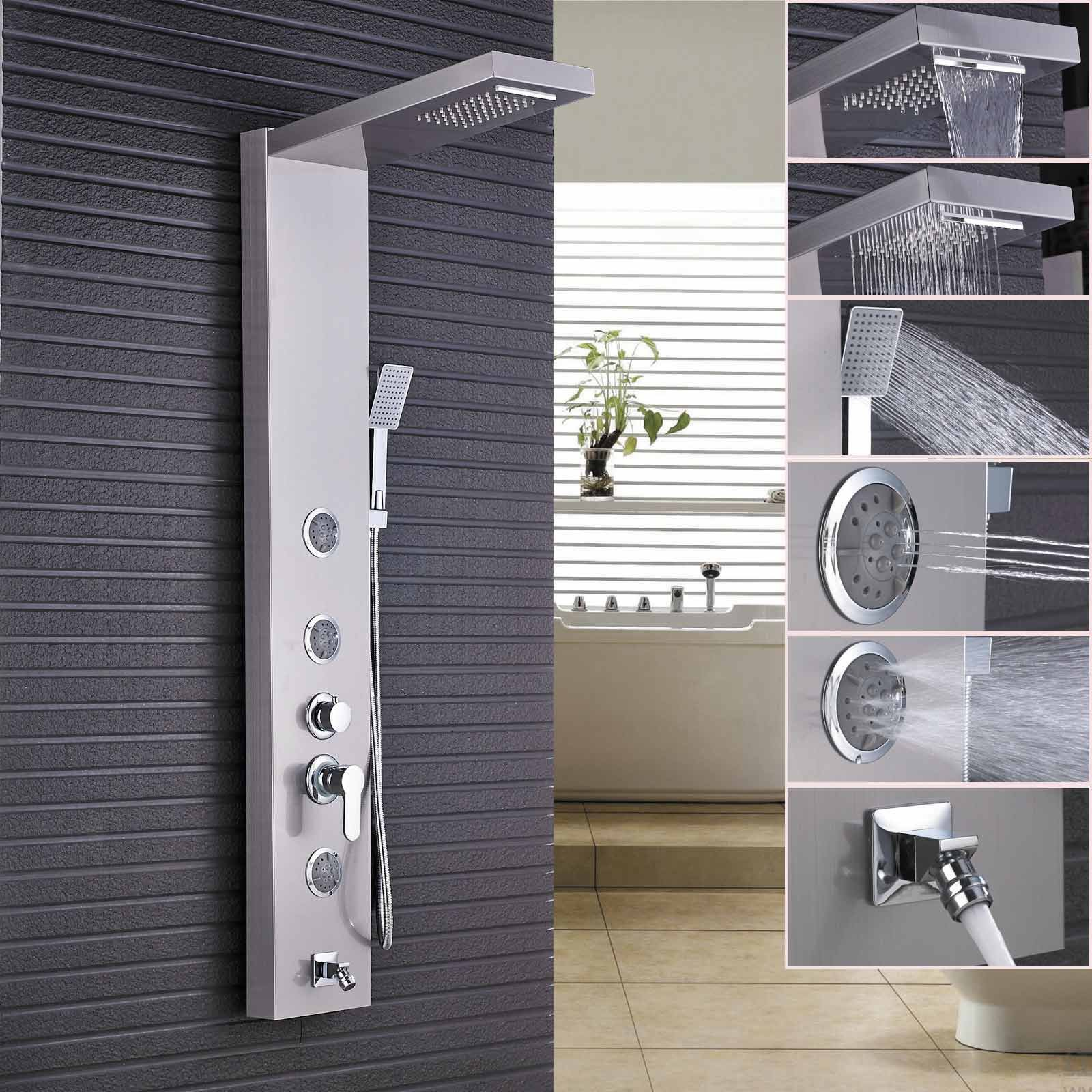 Rozin Brushed Nickel Rain Waterfall Shower Panel Set Body Jets with Hand Spray Wall Mounted