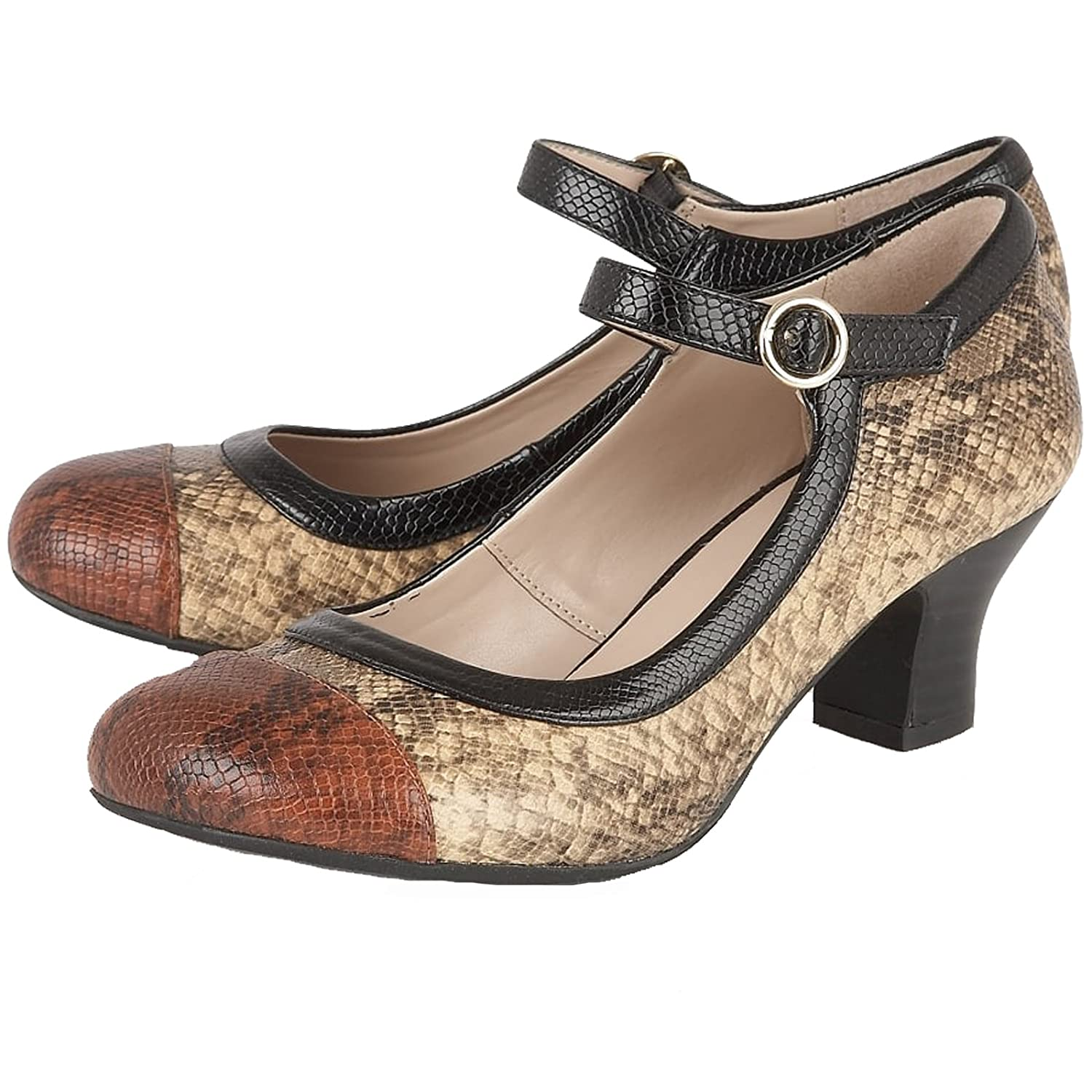 Lotus Ladies Hallmark ORNICE Braun 1920s Snake Print 1920s Braun 1930s Mary Jane Schuhes -UK 5 (EU 38) - 41b550