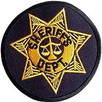 """Écusson ARMY Patch Badge Brodé ecusson applique accessoire militaire vetement thermocollant """" Sheriff noir d or 8 cm """""""