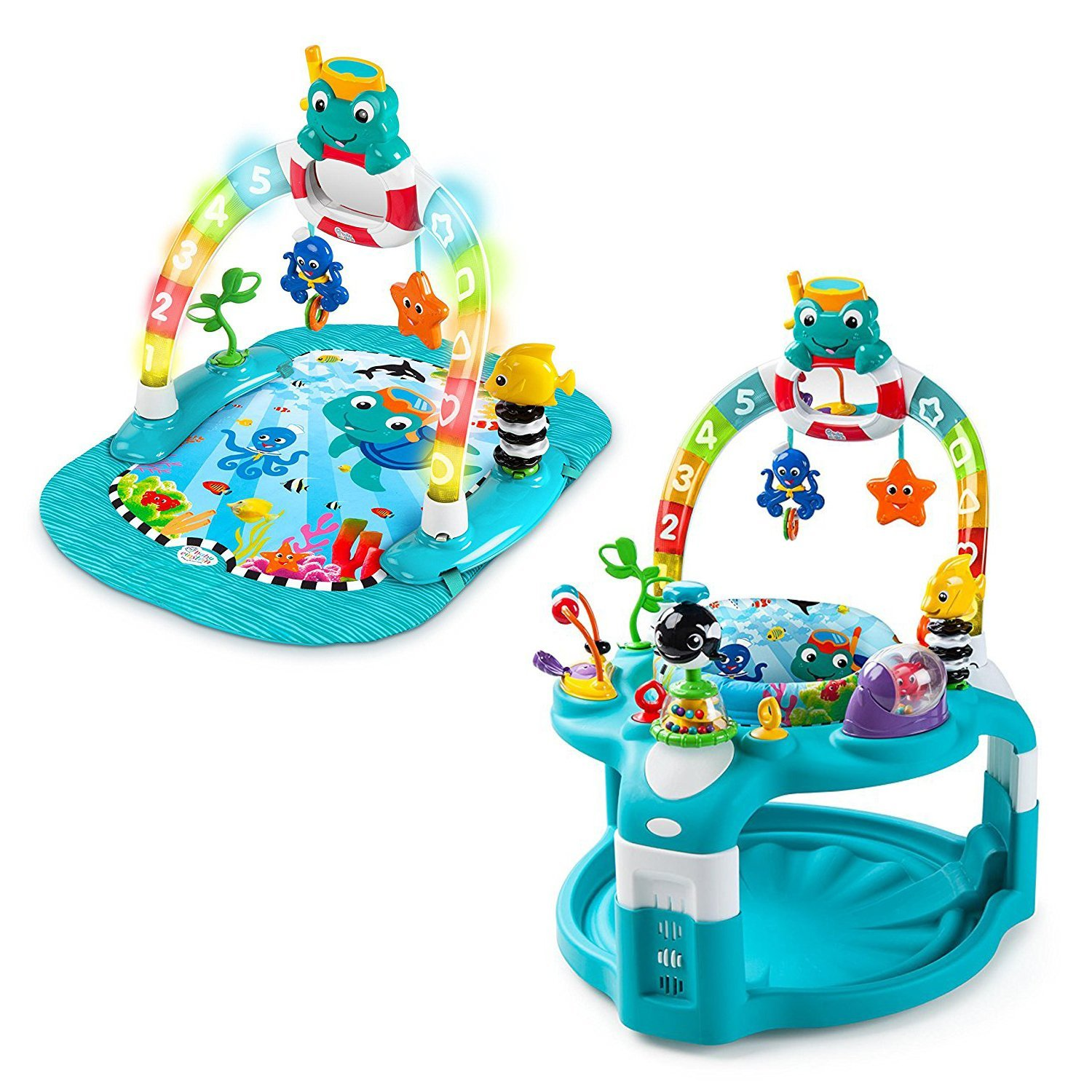 Exersaucer for Baby - Baby Einstein 2-in-1 Lights & Sea Activity Gym & Saucer