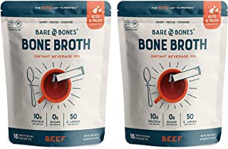 product image for Bare Bones Bone Broth Instant Powdered Beverage Mix, Beef, 10g Protein, Keto & Paleo Friendly, 15g Sticks, Pack of 32 Servings