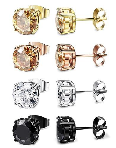 1381ed2e2 ORAZIO 4 Pairs Stainless Steel Women Stud Earrings Mens Ear Piercing Cubic  Zirconia Earrings 5mm