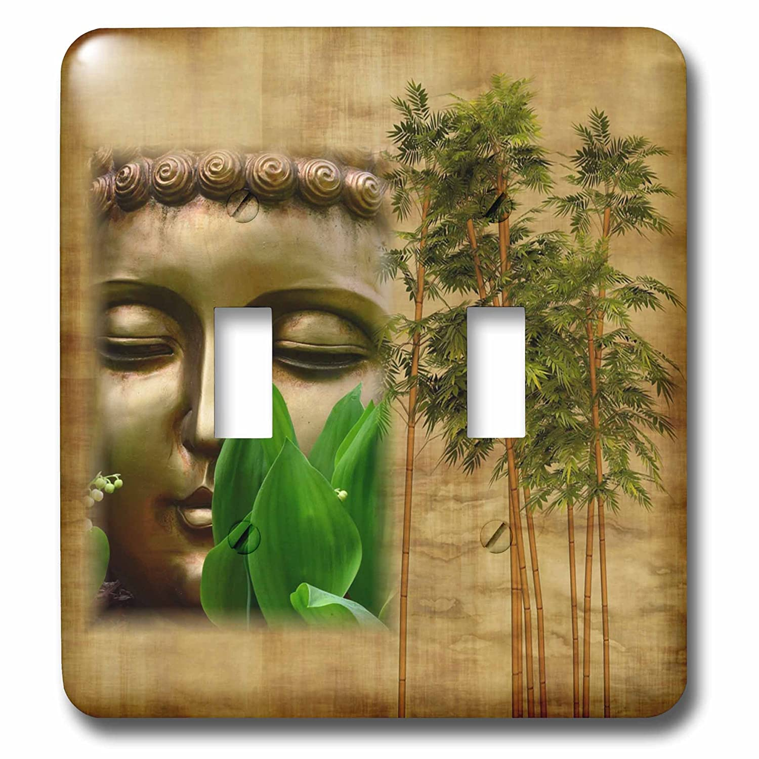 Multicolor 3dRose LSP/_279884/_2 Image of Chinese Buddha Face with Bamboo Toggle Switch