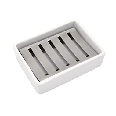 Lofekea Ceramic Soap Dish Stainless Steel Soap Holder for Bathroom and Shower Double Layer Draining Soap Box
