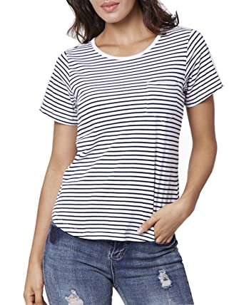 f86a1b3d1b4 ENIDMIL Women s Striped T-Shirt 100% Cotton Round Neck Tee Casual Blouse( Blue