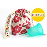 Sckooncup Eco Made in USA - FDA Approved. Organic Cotton Menstrual Sckoon Cup Pouch. Harmony Size A Small