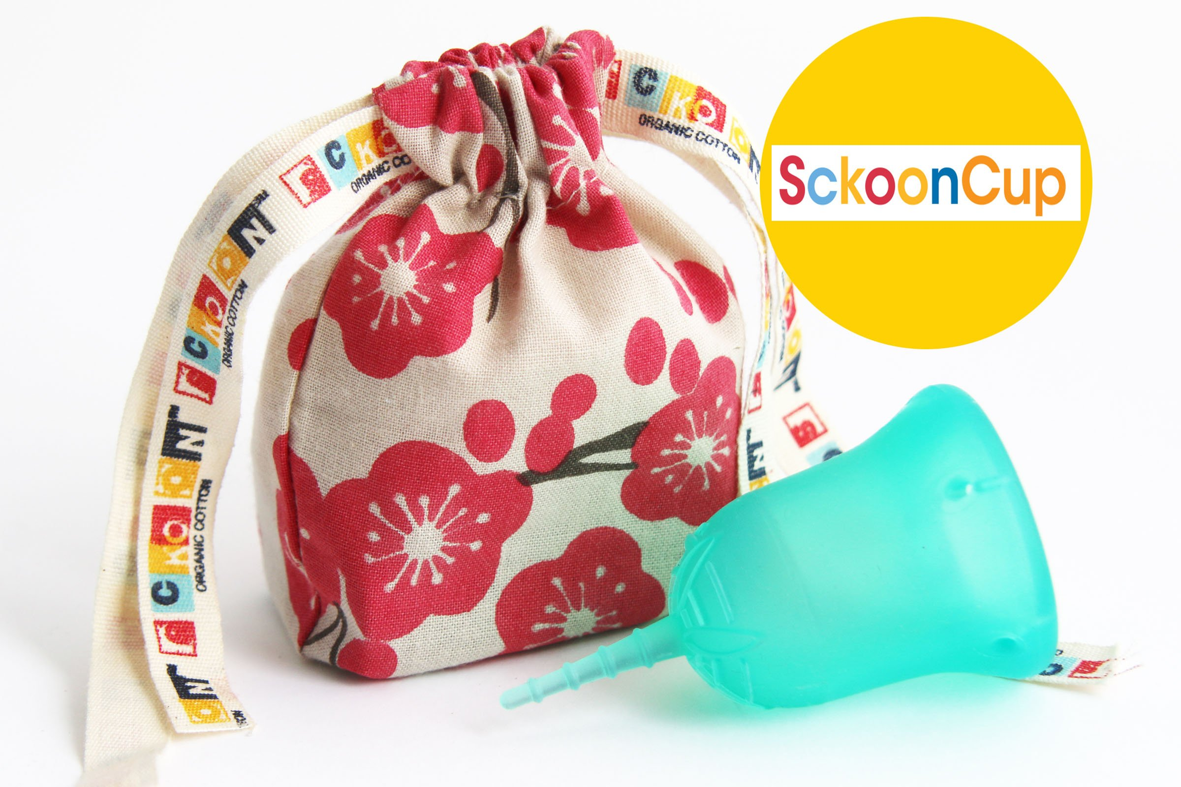 SckoonCup Made in USA FDA Registered Organic Cotton Pouch - Sckoon Menstrual Cup (Size 1(Women have not given birth vaginally) Small, SckoonCup Aqua)