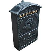 Locking Wall Mounted Mailbox - Vintage Style Rose Design - Rustic Black, Green, Bronze Locking Mail Box - Postage Letter Box