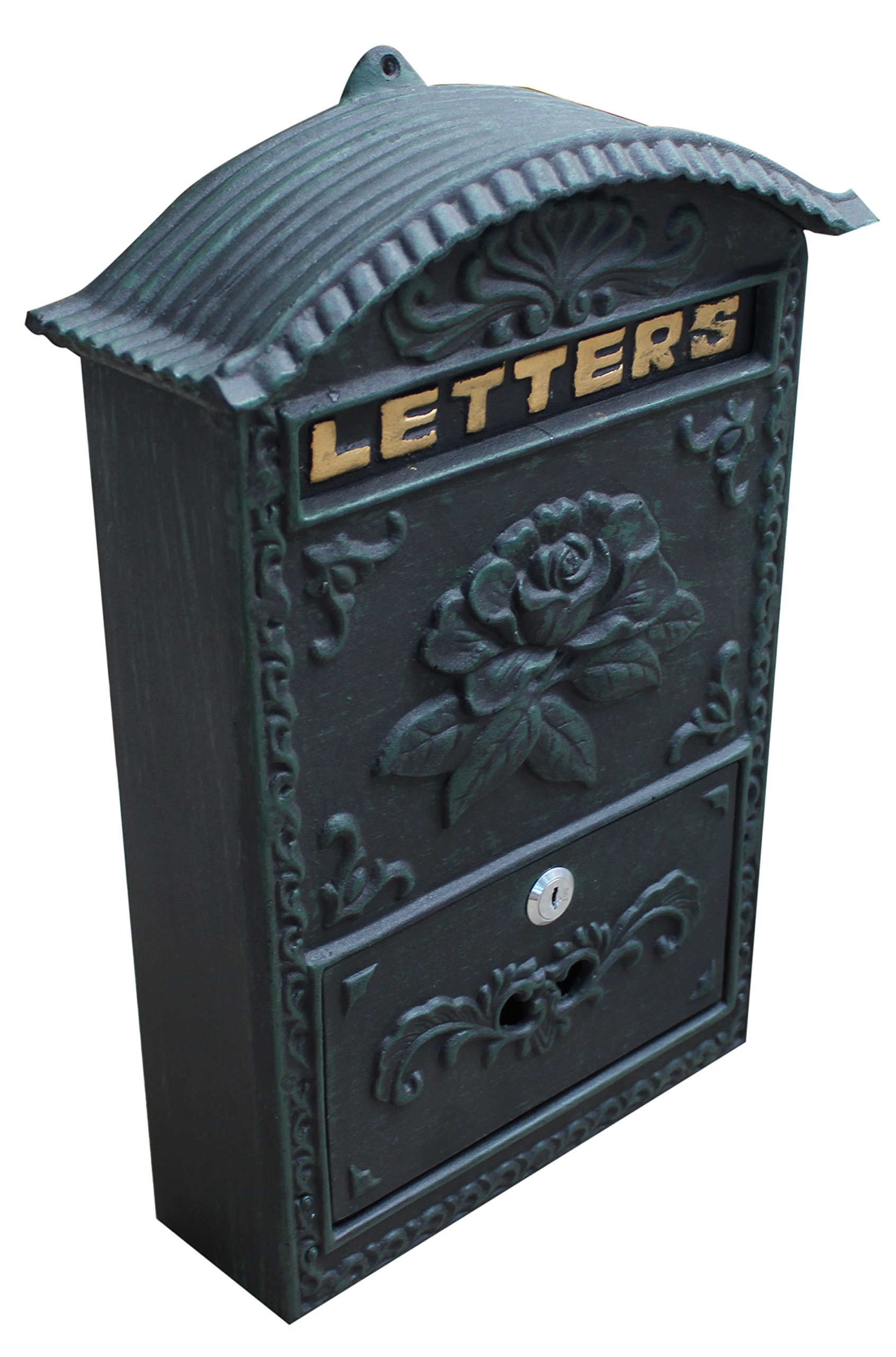 Royal Brands Locking Wall Mounted Mailbox - Vintage Style Rose Design - Rustic Black, Green, Bronze Locking Mail Box - Postage Letter Box by Royal Brands