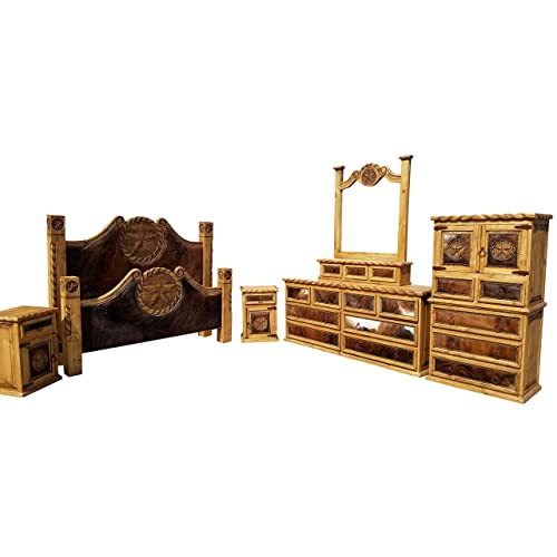 Hi End Cowhide Rustic Bedroom Set With Texas Star And Rope Accents 6 Piece  Complete (