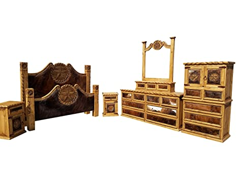 Hi End Cowhide Rustic Bedroom Set With Texas Star And Rope Accents 6 Piece Complete King Size Set
