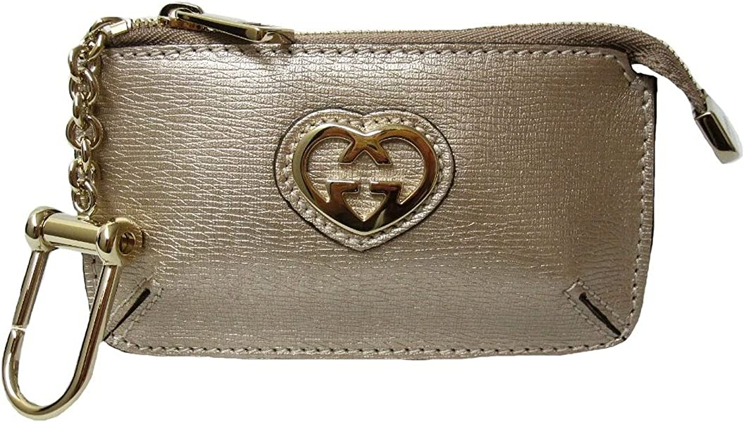 9aab2026448c Amazon.com: Gucci Gold Leather Key Chain Case 338193 Zippered Pouch ...