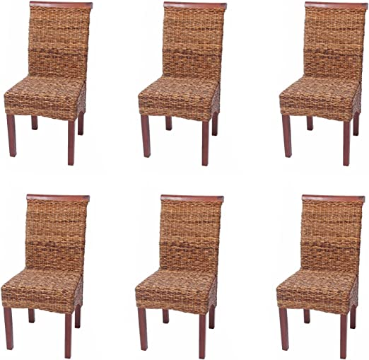 Mendler 6X Esszimmerstuhl Korbstuhl M45 Stuhl Bananengeflecht ~ hell, ohne Kissen