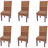 Set 6x sedie M45 intreccio di banano gambe chiare 96x46x55cm ~ senza cuscino
